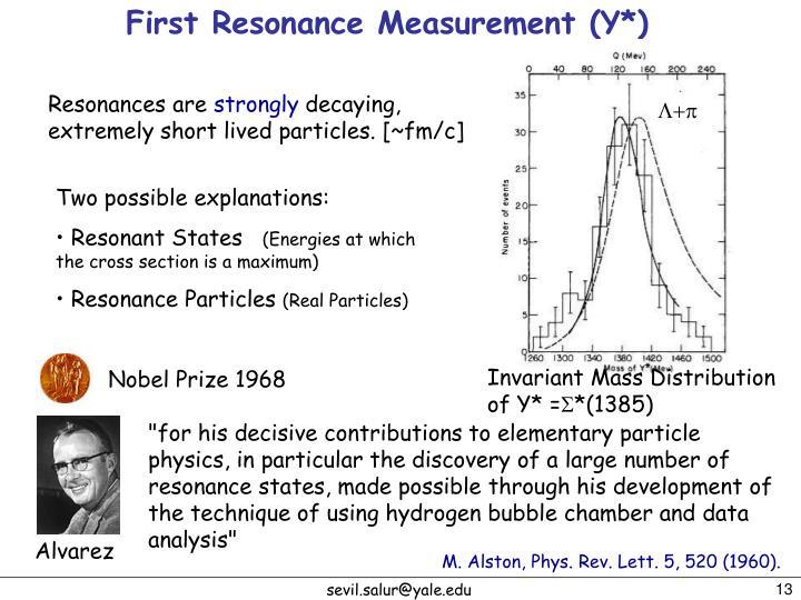 First Resonance Measurement (Y*)