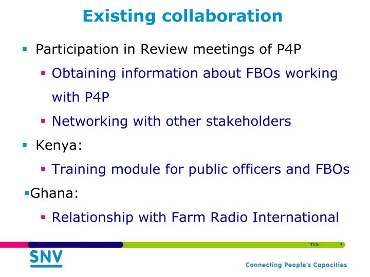 Existing collaboration