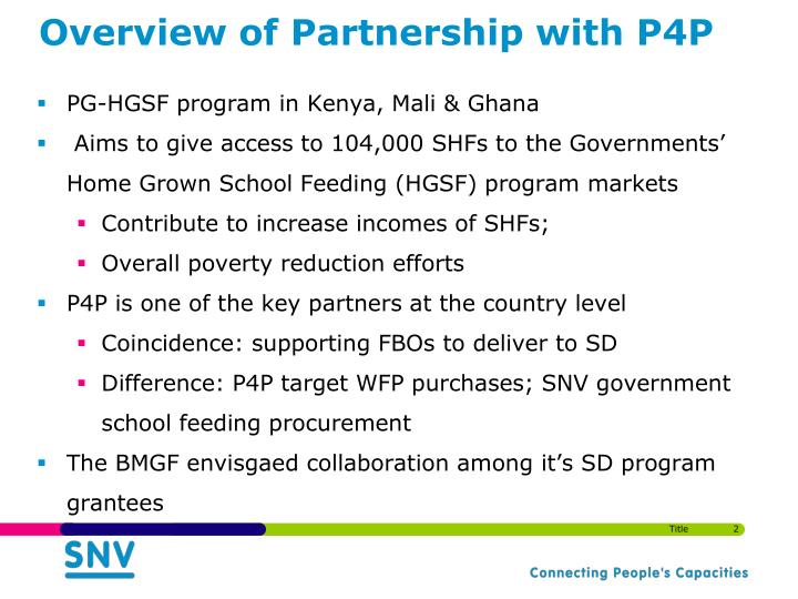 Overview of partnership with p4p