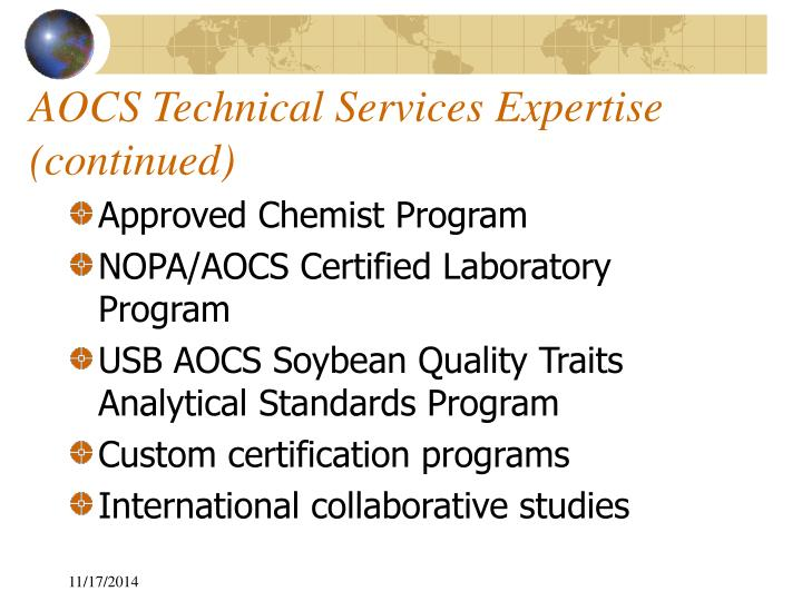 AOCS Technical Services Expertise (continued)