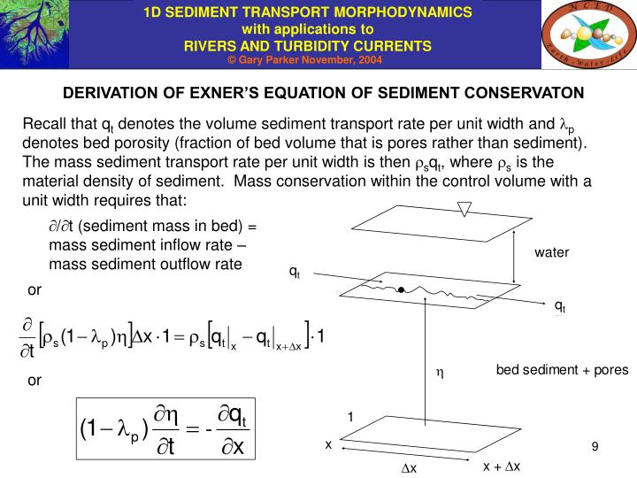 DERIVATION OF EXNER'S EQUATION OF SEDIMENT CONSERVATON