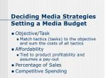 deciding media strategies setting a media budget
