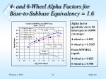 4 and 6 wheel alpha factors for base to subbase equivalency 1 6