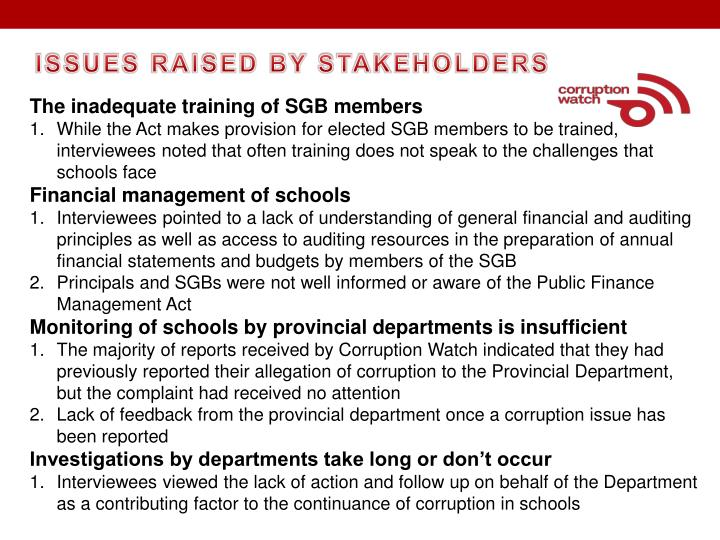 ISSUES RAISED BY STAKEHOLDERS
