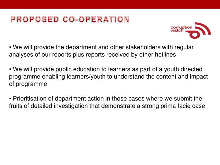 PROPOSED CO-OPERATION