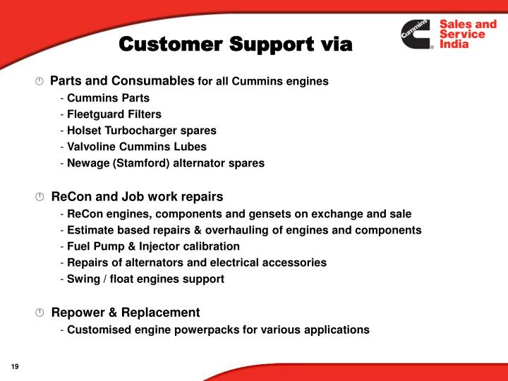 Parts and Consumables
