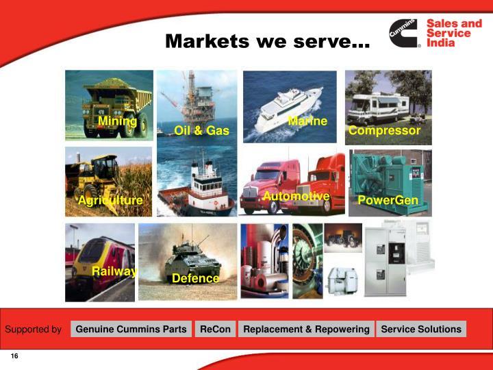 Markets we serve…