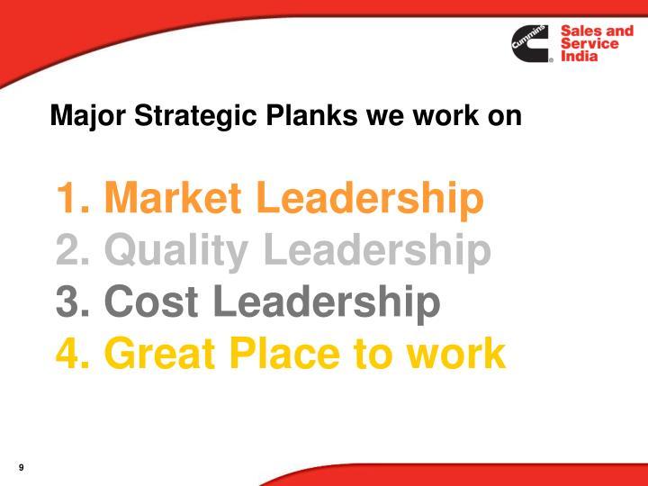 Major Strategic Planks we work on