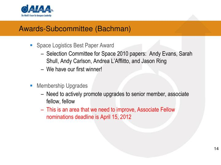 Awards-Subcommittee (Bachman)
