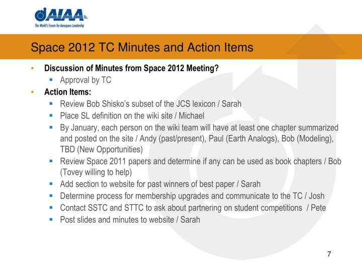 Space 2012 TC Minutes and Action Items