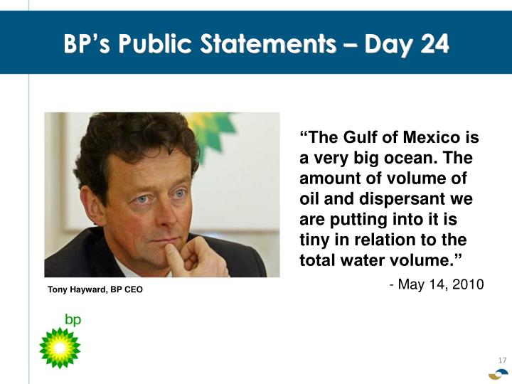 BP's Public Statements – Day 24