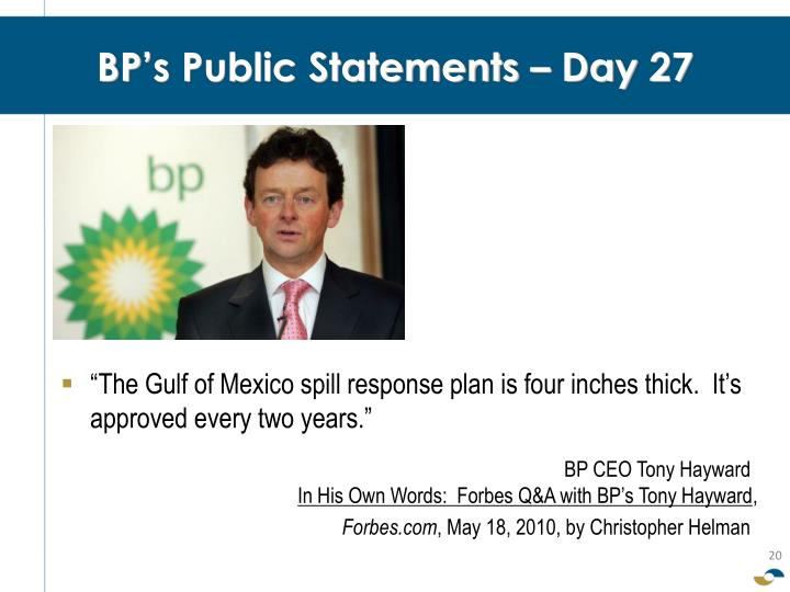 BP's Public Statements – Day 27