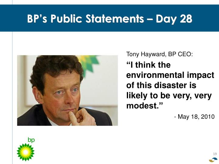 BP's Public Statements – Day 28