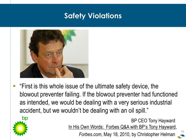 Safety Violations