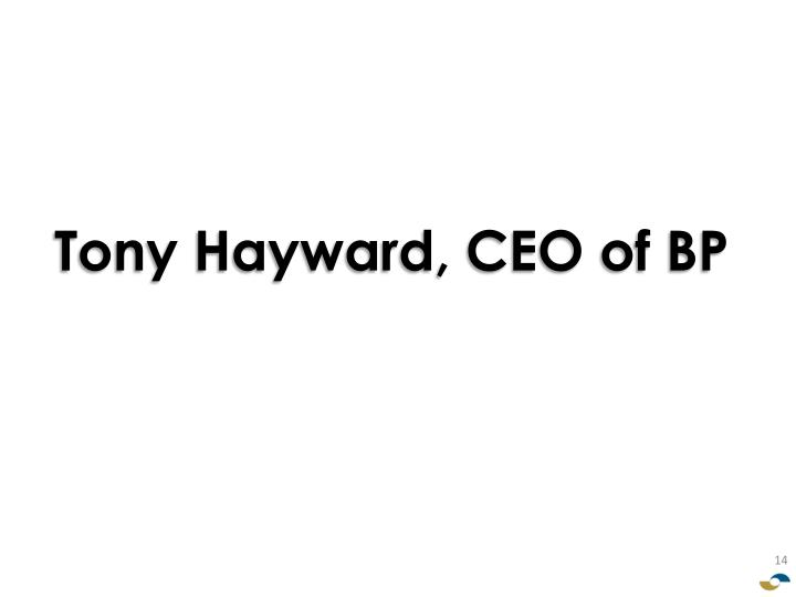Tony Hayward, CEO of BP
