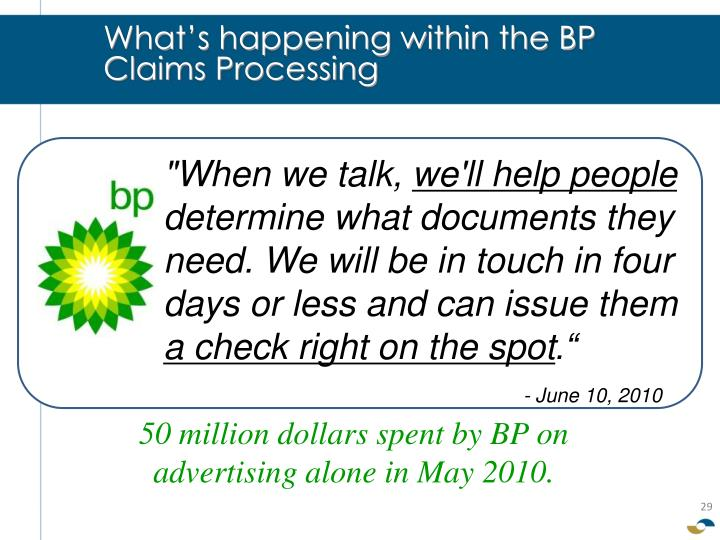 What's happening within the BP Claims Processing