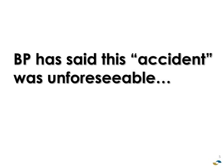 "BP has said this ""accident"" was unforeseeable…"