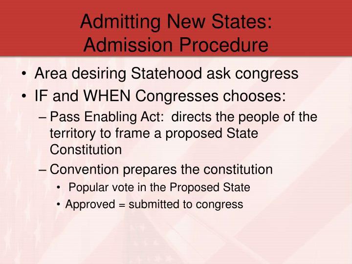 Admitting New States:               Admission Procedure