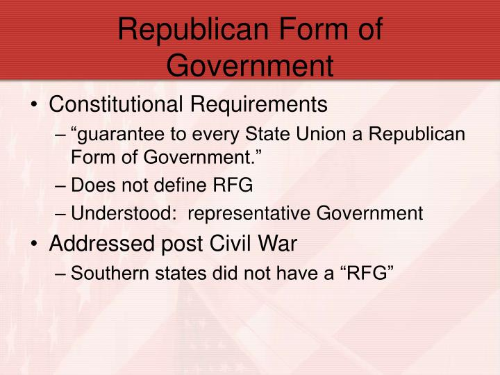 Republican form of government
