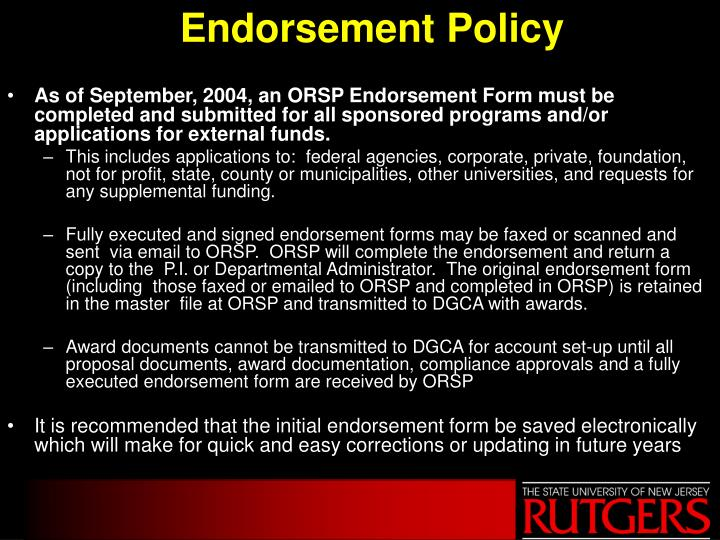 Endorsement Policy