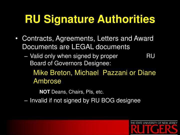 RU Signature Authorities