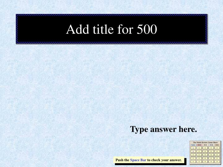 Add title for 500