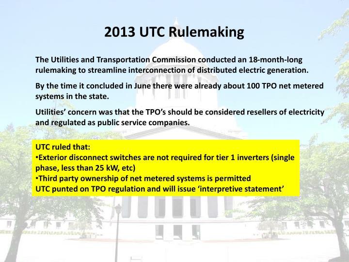 2013 UTC Rulemaking