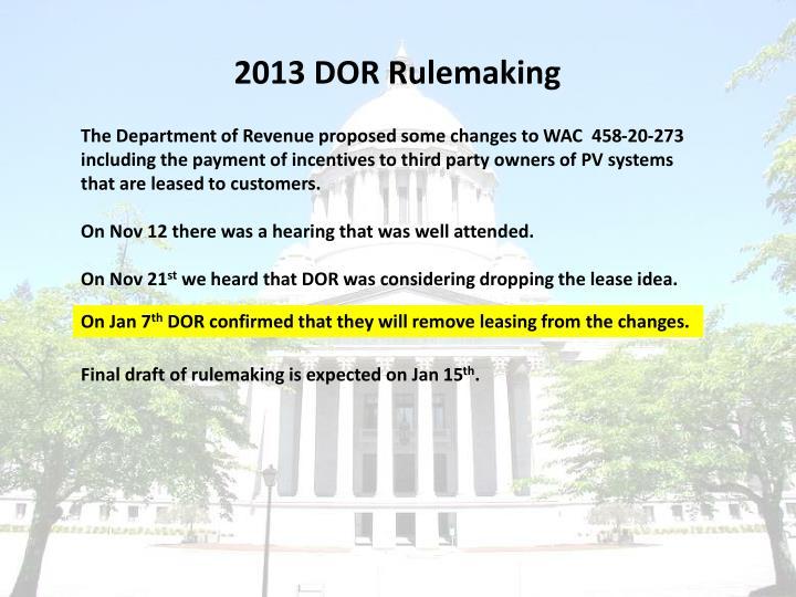 2013 DOR Rulemaking