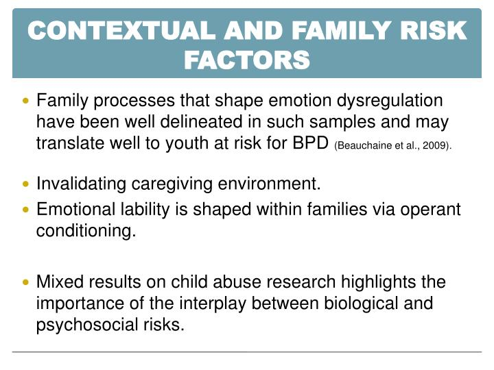 CONTEXTUAL AND FAMILY RISK FACTORS