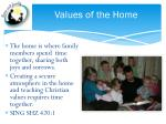 values of the home