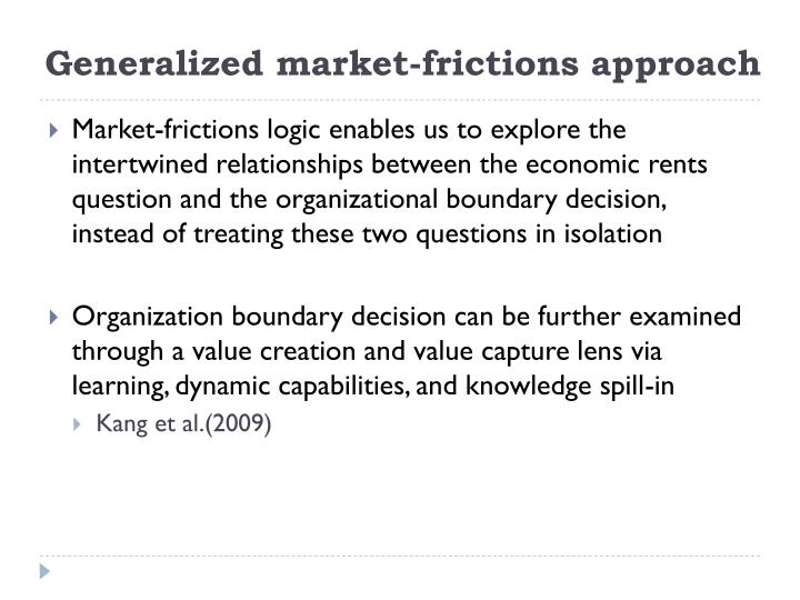 Generalized market-frictions approach