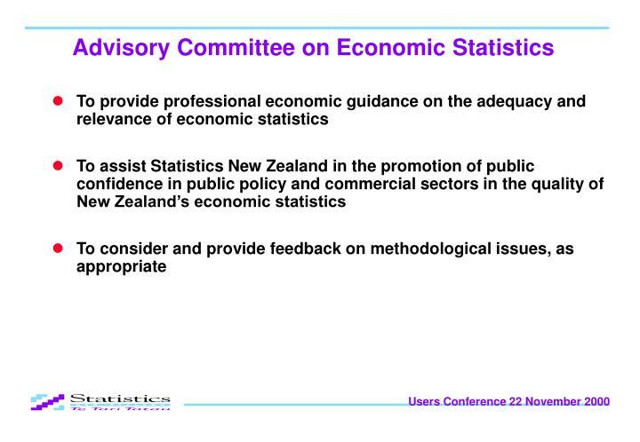 Advisory committee on economic statistics1