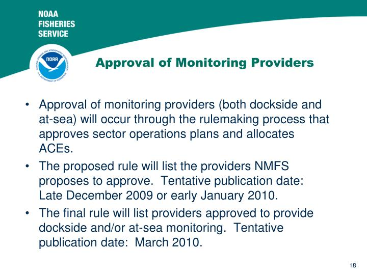 Approval of Monitoring Providers
