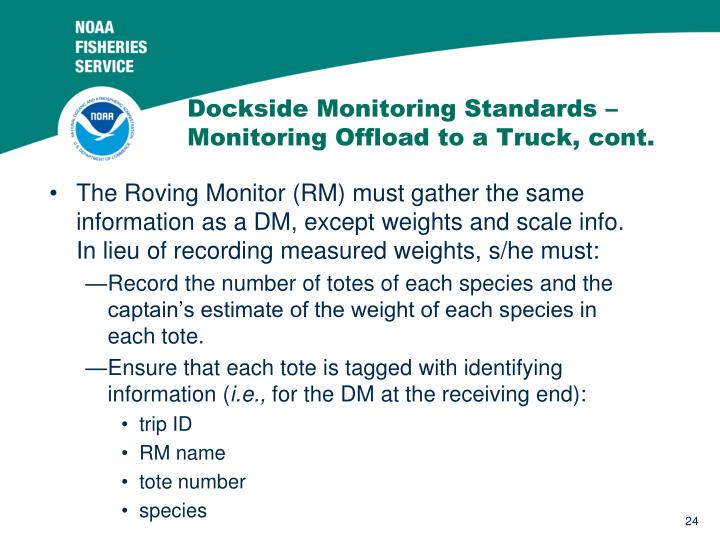 Dockside Monitoring Standards –