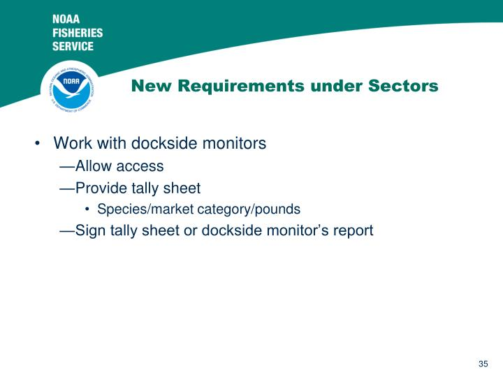 New Requirements under Sectors
