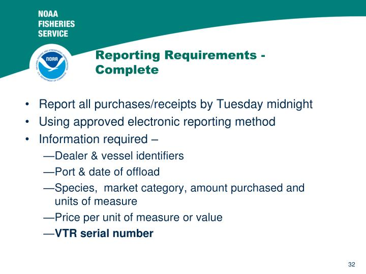 Reporting Requirements - Complete