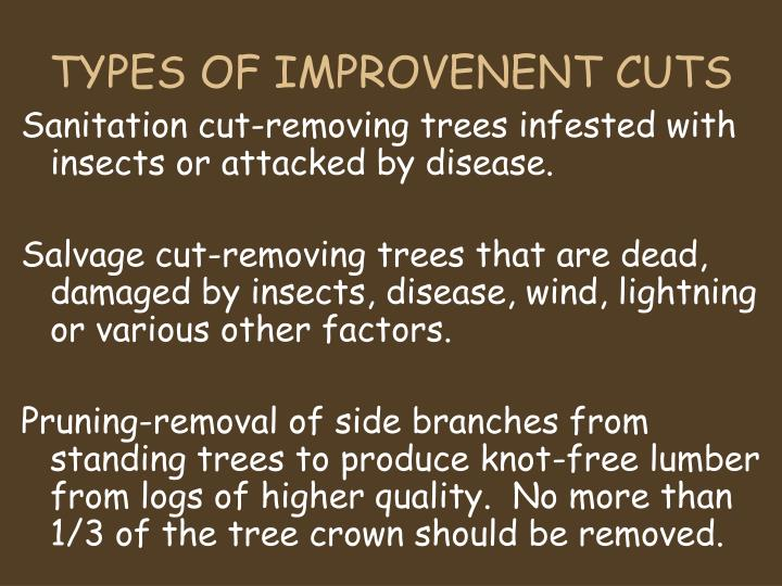 TYPES OF IMPROVENENT CUTS