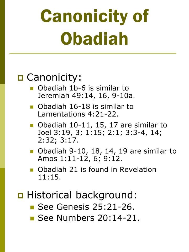 Canonicity of Obadiah