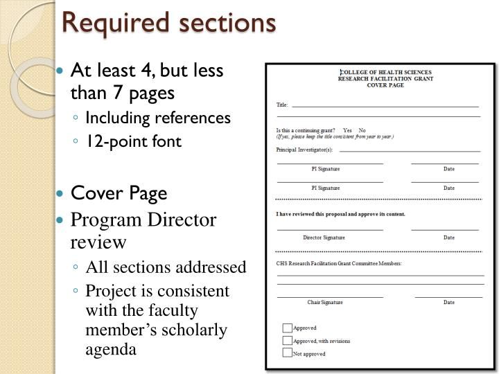Required sections