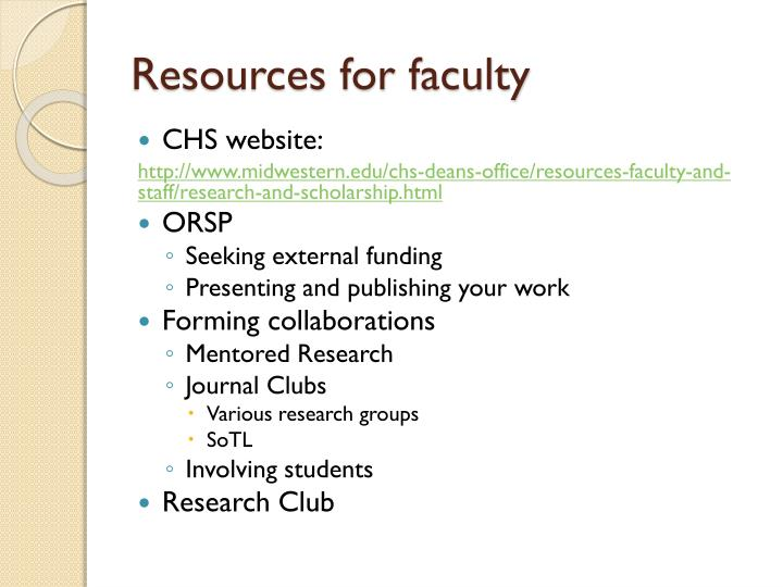 Resources for faculty