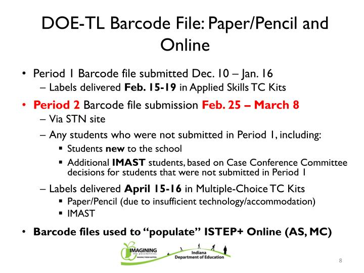 DOE-TL Barcode File: Paper/Pencil and Online