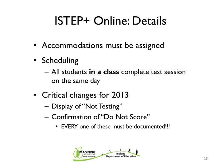 ISTEP+ Online: Details