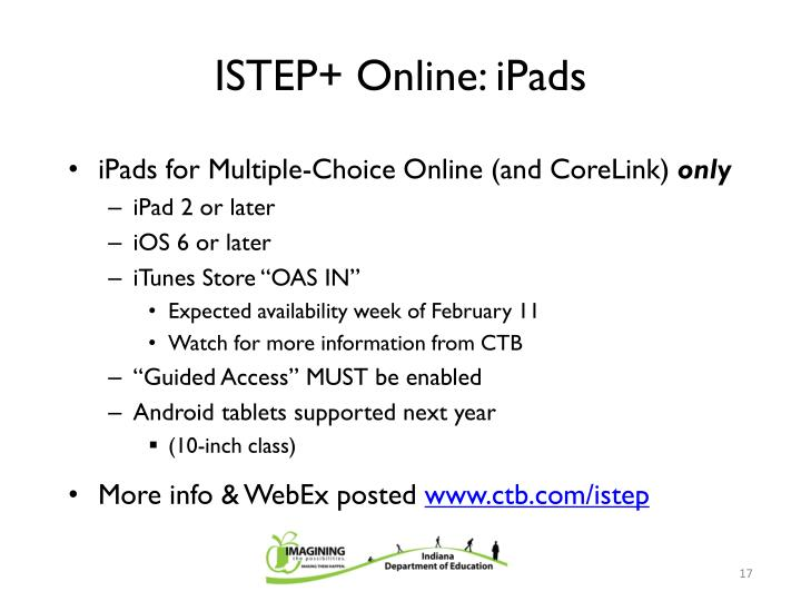 ISTEP+ Online: iPads