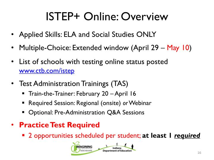 ISTEP+ Online: Overview