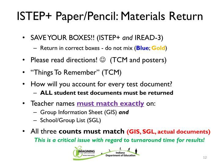 ISTEP+ Paper/Pencil: Materials Return