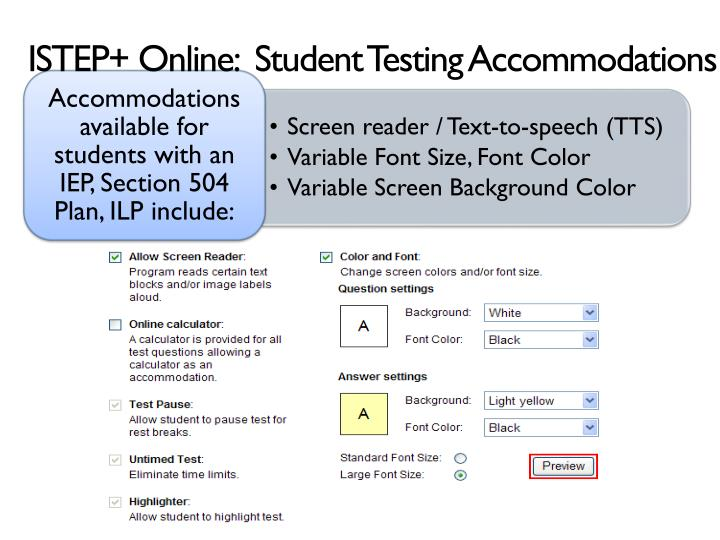 ISTEP+ Online:  Student Testing Accommodations