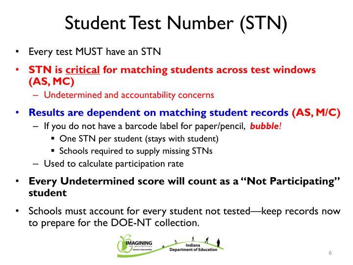 Student Test Number (STN)