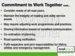 commitment to work together cont