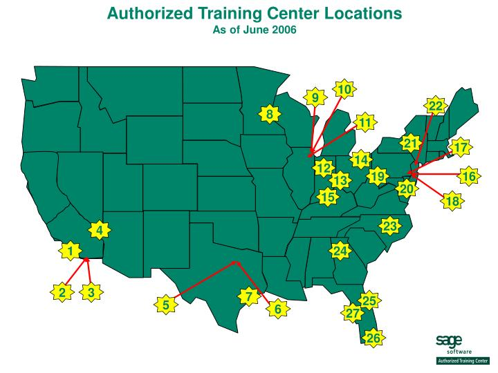 Authorized training center locations as of june 2006