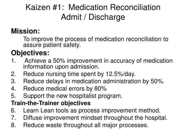 Kaizen 1 medication reconciliation admit discharge